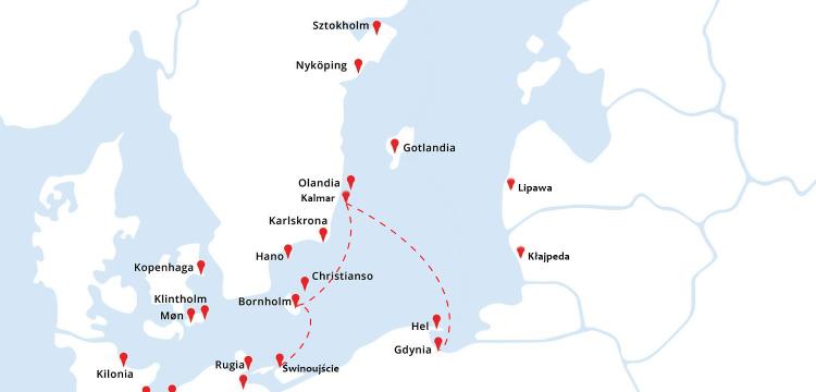 mapa rejsu Świnoujście - Bornholm - Kalmar - Gdynia Karty podstawowe