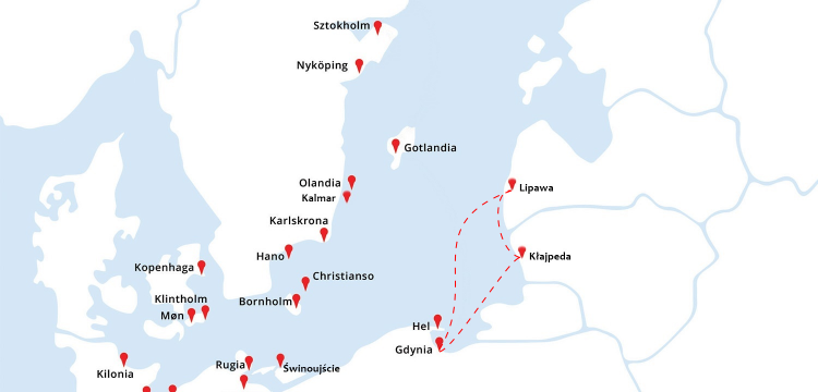 Mapa rejsu Gdynia - Kłajpeda - Lipawa - Gdynia