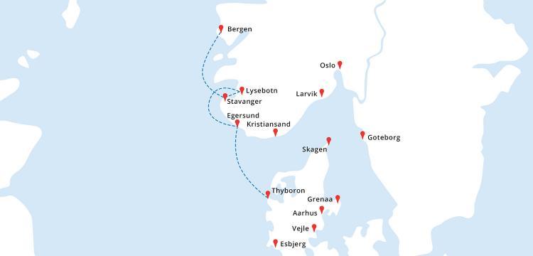 Mapa rejsu Bergen - Stavanger - Lysebotn - Egersund - Thyboron