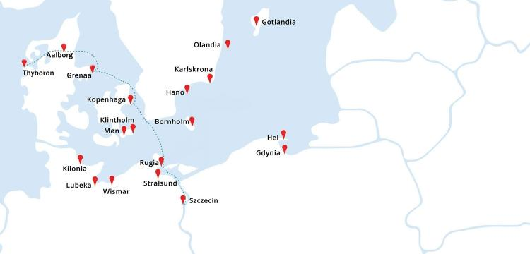 Mapa rejsu Thyboron- Aalborg - Grenaa - Kopenhaga - Szczecin