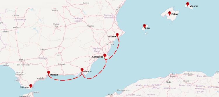 mapa trasa rejsu