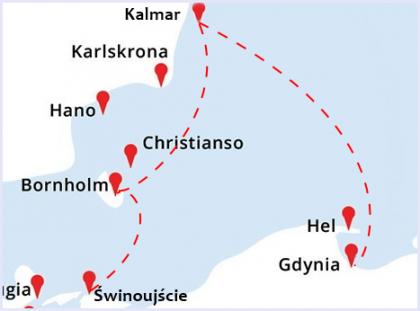 mała mapka do rejsu Świnoujście - Bornholm - Kalmar - Gdynia