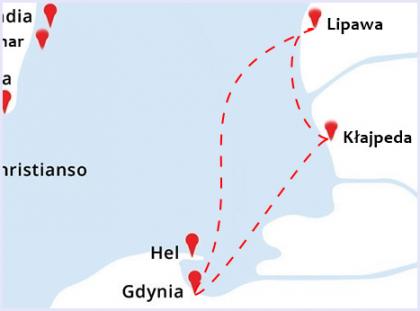 mała mapka do rejsu Gdynia - Kłajpeda - Lipawa - Gdynia