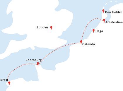 Mapa rejsu Amsterdam - Ostenda - Cherbourg - Brest