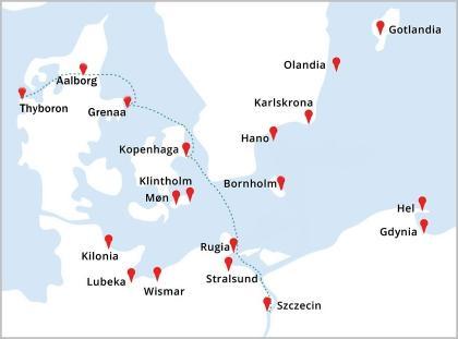 Mapa rejsu Szczecin - Kopenhaga - Grenaa - Aalborg - Thyboron