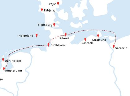 Mapa rejsu Szczecin - Kilonia - Cuxhaven - Amsterdam