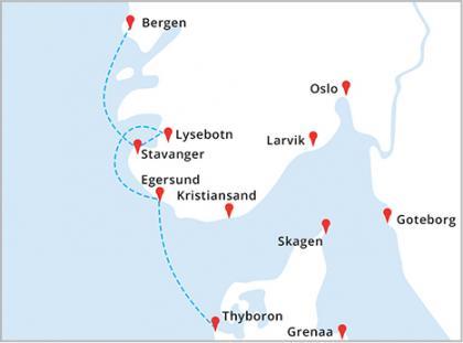 Mapa rejsu Thyboron - Egersund - Lysebotn - Stavanger - Bergen